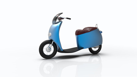 The 3d rendering of electric bike isolated with single color