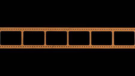 La representación 3D del escaneo de tiras de película de 35 mm con signos de uso con fondo aislado Foto de archivo
