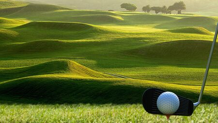 The Collection of golf equipment resting with nice golf place