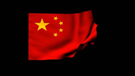 The 3d rendering of flag of the china waving in the wind
