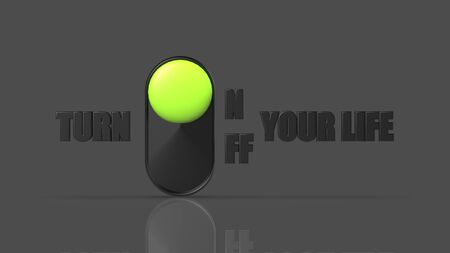 The 3d rendering of turn onoff you life icon
