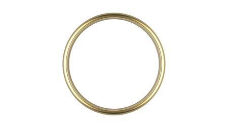 Der abstrakte goldene Luxusring der Wiedergabe 3d auf weißem Hintergrund Standard-Bild