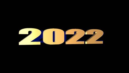 The 3d rendering of 3D 2022 wording with black background