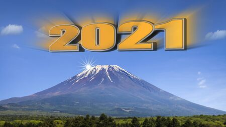 The 3d rendering of year 2021 with fuji MT background Stock Photo