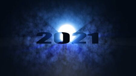 The 3d rendering of nice lighting effect Happy new year 2021