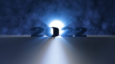 The 3d rendering of nice lighting effect Happy new year 2022 Archivio Fotografico