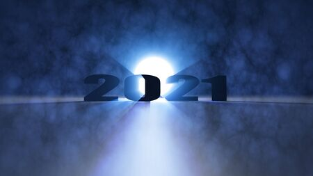 The 3d rendering of nice lighting effect Happy new year 2021 Archivio Fotografico