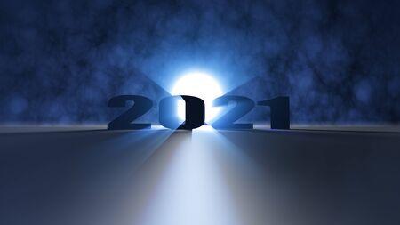Il rendering 3d di un bell'effetto luminoso Felice anno nuovo 2021