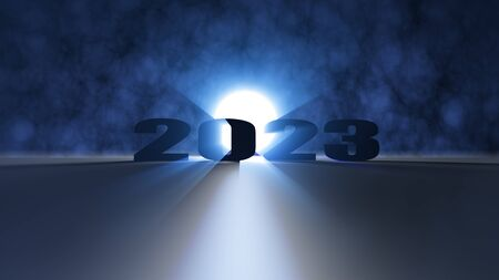The 3d renderin gof nice lighting effect Happy new year 2023 red