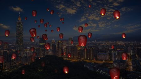 The fire paper lanterns in the night sky with nice background
