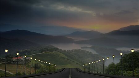 The 3d rendering of the road to beautiful place