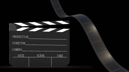 The 3d rendering of Film strip and Clapper board isolated with black