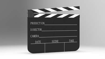 The movie clappers open and close isolated on white background