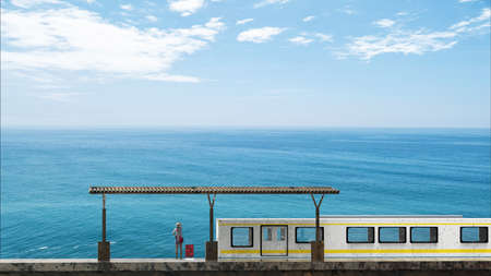 The 3d rendering of beautiful train station with nice beach sky