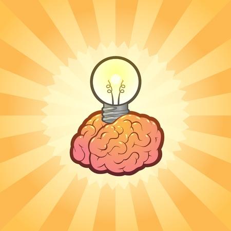 Brain Lightbulb Idea Illustration 版權商用圖片 - 9818281
