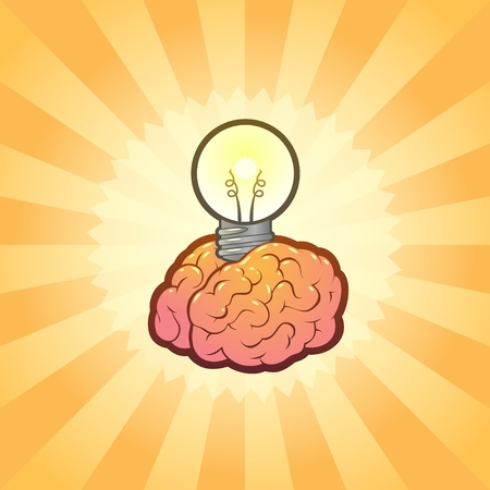 recordar: Ilustraci�n de la Idea de la bombilla de cerebro Vectores