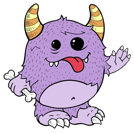 Doodle of Cute Purple Monster Illustration Illustration