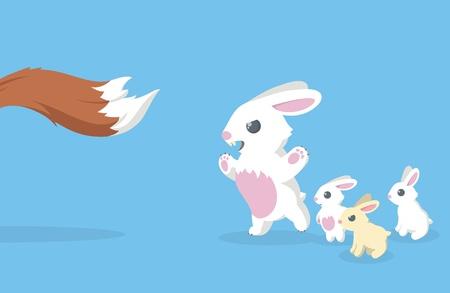 ウサギとキツネの尾の図