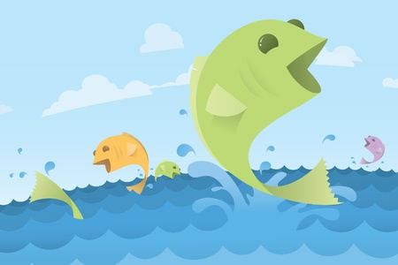 Fish Jumping Out of Ocean Water, Illustration Illustration