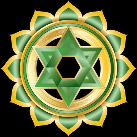 anahata: Medaglione o gioiello come il Chakra Anahata ind�, illustrazione