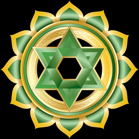 anahata: Medallion or Jewel like the Hindu Chakra Anahata, Illustration