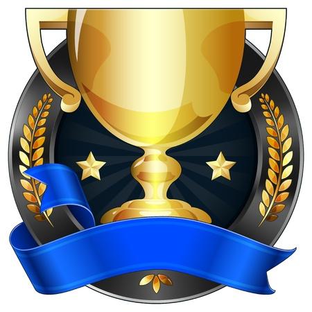 trophy award: Logro Premio Trofeo con cinta y corona, ilustraci�n