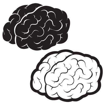 inspirerend: Hersenen, silhouet illustratie Stock Illustratie