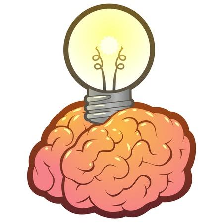 아이디어 또는 영감을위한 전구 두뇌 아이디어,