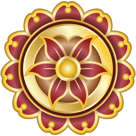 Flower Emblem with Pedals on Gold Vector