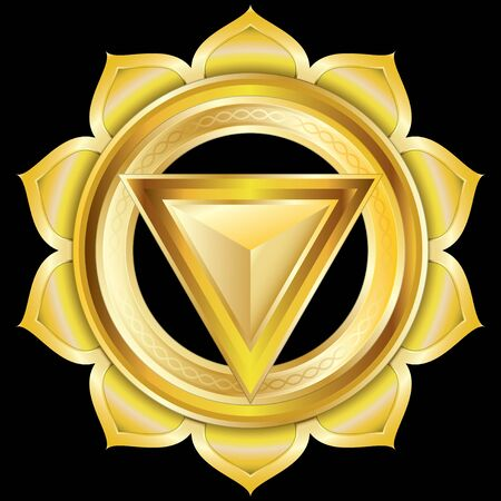 manipura: Medallion Award Badge or Hindu Chakra of Manipura