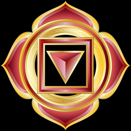 Medallion Award Badge or Hindu Chakra of Muladhara Vector
