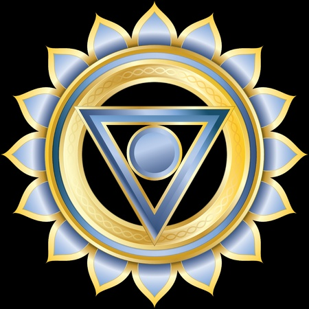 Medallion Award Badge or Hindu Chakra of Vishuddha Vector