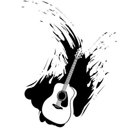 Acoustic Guitar Grunge Splash Design, Silhouette Illustration Vector