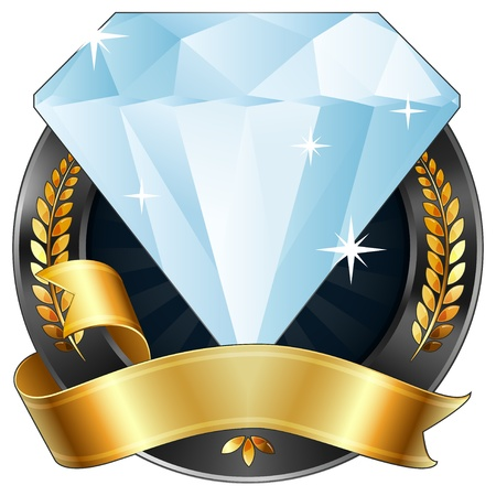 a sparkling diamond gem award or sports plaque medal. Gold ribbon is wrapped around it. Gold wreaths surround the reward. Representations include: Achievement, Winning, 1st Place, Best Player or Most Valuable Player of a game, Quality Product, or any othe Illustration