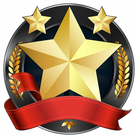 a gold star award or sports plaque medal. Red ribbon is wrapped around it. Gold stars and gold wreaths surround the reward. Representations include: Achievement, Winning, 1st Place, Best Player or Most Valuable Player of a game, Quality Product, or any ot Illustration