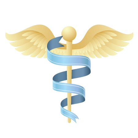 Vector Illustration of a modern medical symbol like the traditional Caduceus emblem of health,medicine,hospitals,doctors,ambulances.Icon can also represent an emergency, or medicine or prescriptions. Иллюстрация