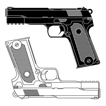 Technical line drawing of a 9mm pistol handgun. Precise lines. Shape of weapon is not distinct to any particular manufacturer. Often used to represent danger, killing, violence, military, self defense, protection, and any firearms. Vector Ilustration. Vettoriali