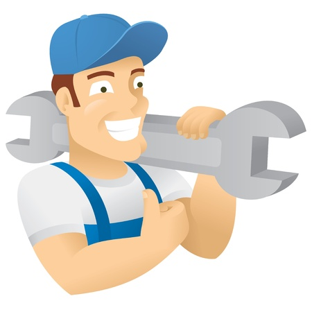 labor strong: Character illustration that can be used to represent a plumber, workman, service worker, occupation, builder, construction worker, or a stong man or any job that requires physical labor. Vector Illustation.