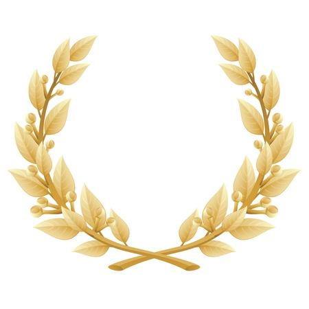 illustration of a gold laurel wreath Illustration