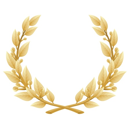 illustration of a gold laurel wreath Illustration