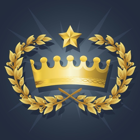 Illustration of Gold King Crown with Quality Laurel Wreath and Champion Star. Representations include: Power, Success, Victory, Quality, First Place, 1st, Best, Winner, MVP, honor.