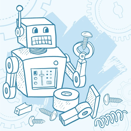robot cartoon: Broken robot assembling itself with parts and screws laying around  Representations include  Do it yourself, DIY, assemble, maintenance, fix, building, problem solving, A I , technology, confusion, or blueprint instructions