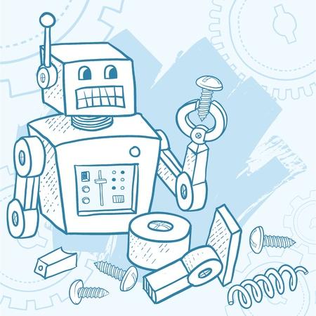maschinenteile: Defekter Roboter Montage selbst mit Teilen und Schrauben herumliegen Vertretungen umfassen Do it yourself, DIY, montieren, Wartung, Fehlerbehebung, Geb�ude-, Probleml�sungs-, AI-, Technologie-, Verwirrtheit, oder Blaupause Anweisungen