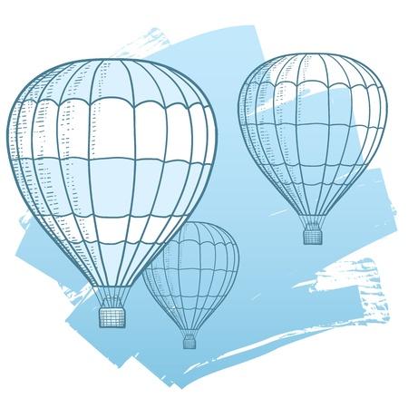 自由、旅行、モビリティ、および楽しいデッサン熱気球の空に浮かぶのイラストを表します