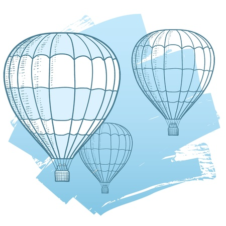 Drawing Illustration of hot air balloons floating in the sky  Represents freedom, travel, mobility, and fun  Vector
