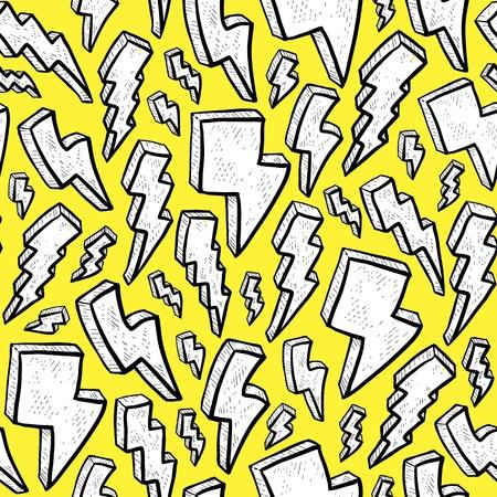 excitement: Симпатичные молнии картины в каракули или стиль рисования Это искусство мультфильм клип можно представить волнение и удовольствие Ярко-желтый узор фон может быть легко черепицей