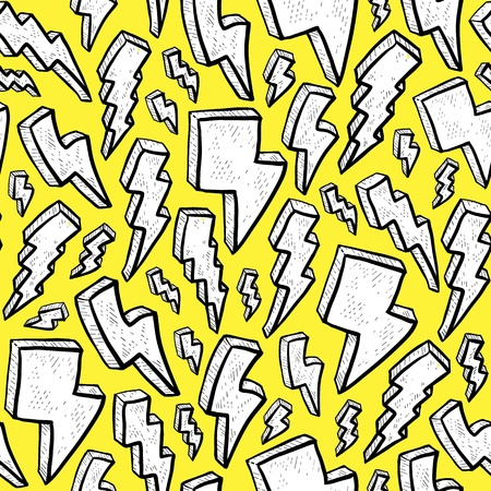 excite: Cute lightning bolt pattern in doodle or drawing style  This cartoon clip art can represent excitement and fun  Bright yellow background  Pattern can be tiled seamlessly
