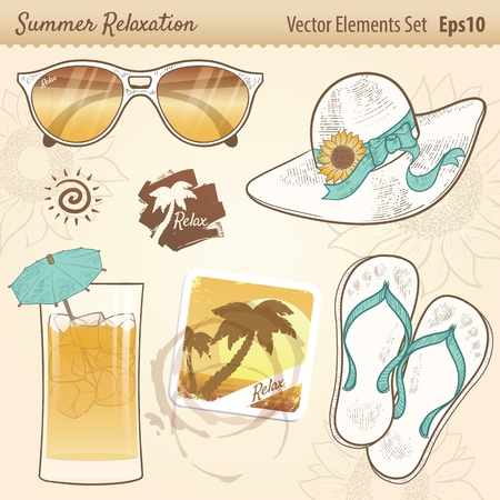 Summer Relaxation Set with cool shaded sunglasses, flower hat and ribbon, refreshing drink and umbrella, beach scene drink coaster, water rings from cups, flip flops, palm tree logo, sun icon, and flower drawings with transparency  Vector