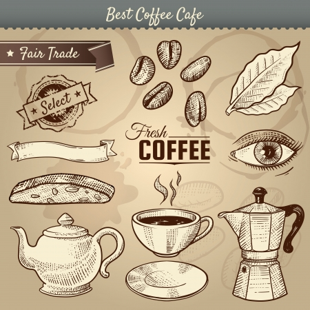 illustration of various cafe related items doodled in a vintage style.