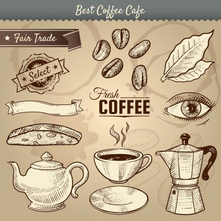 vintage cafe: illustrazione di articoli vari caff� correlati scarabocchiato in uno stile vintage.